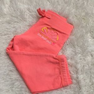 NWOT Bright Coral Embroidered joggers